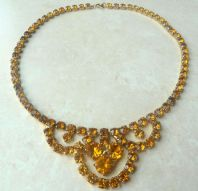 Vintage Amber Rhinestone Swag Necklace